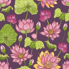 Natural seamless pattern with beautiful pink blooming lotus hand drawn on dark background. Backdrop with gorgeous flowers, buds and leaves. Botanical vector illustration for fabric print, wallpaper.