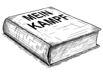 Vector artistic pen and ink conceptual drawing illustration of book Mein Kampf written by German Nazi Party leader Adolf Hitler .