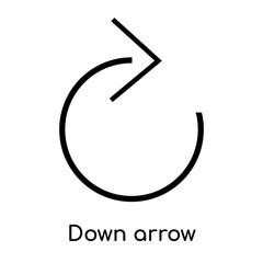 Down arrow icon vector sign and symbol isolated on white background, Down arrow logo concept, outline symbol, linear sign