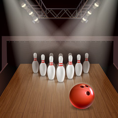 Wall Mural - Bowling 3D Illustration