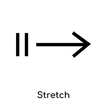 Stretch icon vector sign and symbol isolated on white background, Stretch logo concept, outline symbol, linear sign