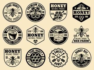 Honey monochrome vector badges, emblems, labels