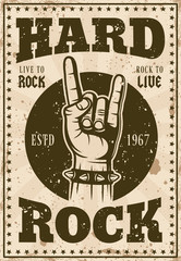 Rock music vintage poster with horns hand vector