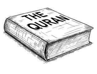 Vector artistic pen and ink drawing illustration of The Quran or Koran book of Islam.