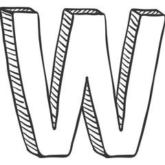 Vector Single Doodle Sketch Illustration - The Letter W