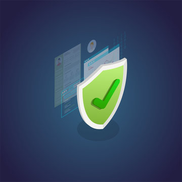 Authentication and protection concept. Isometric shield and secure private data, browser window and passwords secured with shield. Data security protection concept banner.