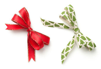 Christmas Bows Isolated on White Background