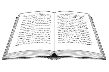 Vector artistic pen and ink drawing illustration of old open book with undefined abstract handwritten text.