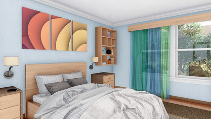 Cozy bright modern bedroom interior design with double bed and other furnishings at sunny morning. Close up view 3D illustration.