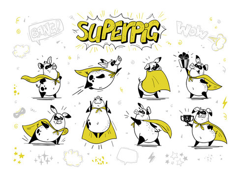 Vector collection of pig super hero hand drawn characters isolated on white background. Comic style. Outline drawing. Perfect for banners, cards, prints, package design, children's room interior decor