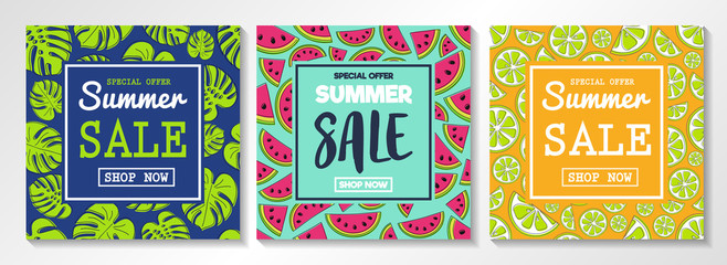 Collection of flyers for Summer Sales. Concept with watermelons, citrus fruits and tropical leaves. Vector.