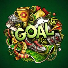 Cartoon cute doodles Goal word. Colorful illustration. Backgroun