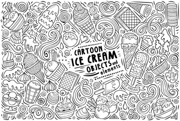 Vector doodle cartoon set of Ice Cream items, objects and symbols