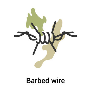 Barbed wire icon vector sign and symbol isolated on white background, Barbed wire logo concept, outline symbol, linear sign