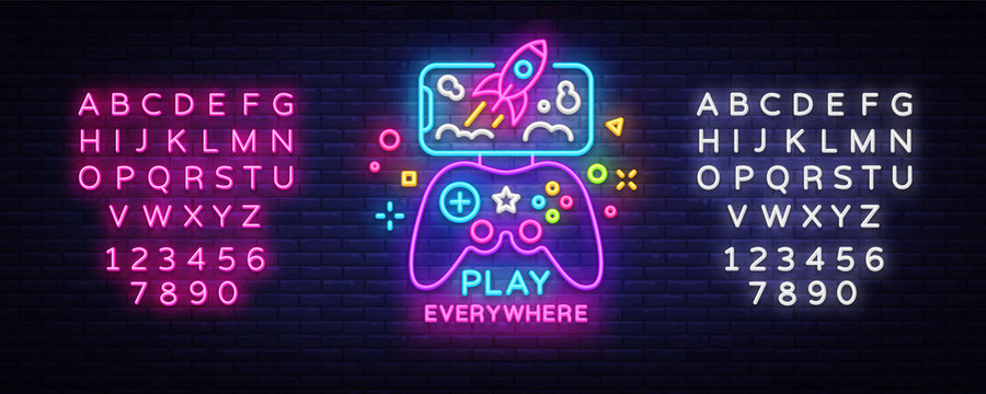 Gamepad and Smartphone neon sign vector. Games for Smartphone Logotype, Emblem in Modern Trend Design, Vector Template, Light Banner, Night Vivid Video Game Promotion. Vector. Editing text neon sign