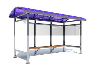 Bus stop equipped with flexible solar panels for lighting and charging of mobile gadgets. Ecological urban environment. 3D rendering.
