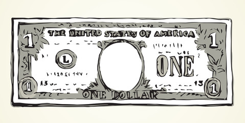 One dollar. Vector drawing