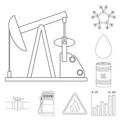 Oil industry outline icons in set collection for design. Equipment and oil production vector symbol stock web illustration.