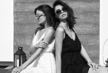 Gorgeous bright couple of brunette women in black and white dresses