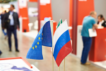 Flags of Russia and European Union on exhibition