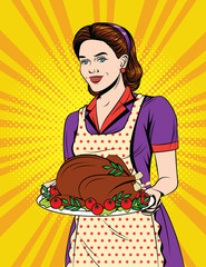 Vector colorful comic pop art style illustration of a beautiful housewife with traditional thanksgiving food . Vintage postcard with young girl in apron serving dinner.