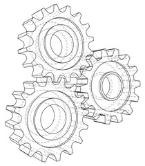 Gear sketch. Vector rendering of 3d. Wire-frame style.