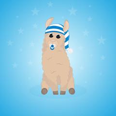 Cartoon llama. Cute lama. Alpaca. Card on colorful background. Vector