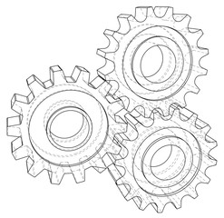 Background industrial design gears. Conceptual 3d wire-frame illustration