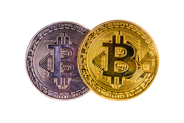 Bitcoin coins isolated on the white background