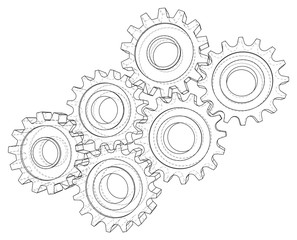 Cogs and Gears. Vector rendering of 3d. Wire-frame style.