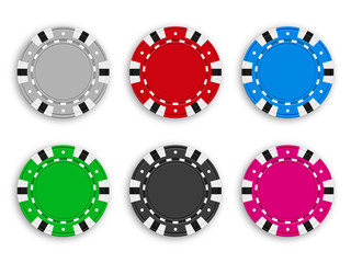 Set of colored chips for poker and casino. Realistic vector illustration.