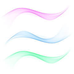 set of abstract color wave smoke transparent blue pink green wavy design
