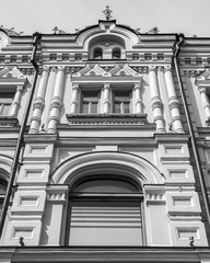 MOSCOW, RUSSIA, on June 4, 2018. An architectural fragment of a facade of the typical building around historical building.