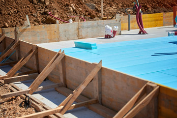 Floor thermal insulation - insulation material for building construction. Floor heating insulation, warm house, eco friendly insulation.