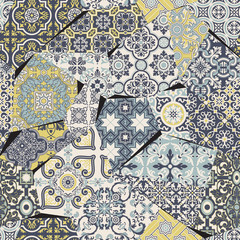 Azulejos tiles patchwork abstract vector seamless pattern wallpaper