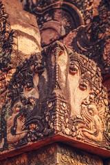 Fotomurales - Banteay Srei - unique temple of pink sandstone. Thread fragments.