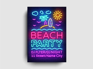 Beach party invitation card design template. Summer party poster in neon style, modern trend design, light banner, bright advertising party, neon typography. Vector illustration