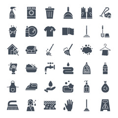 Cleaning Solid Web Icons