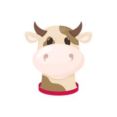 Cow farm animal cute cartoon cattle vector illustration dairy domestic mammal milk bull agriculture character.