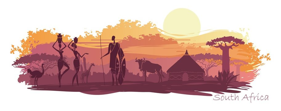 Background with landscape of South Africa
