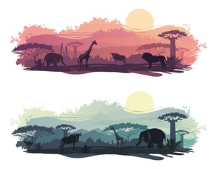 African landscape with wild animals