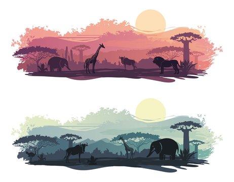 African landscape with wild animals