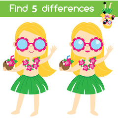 Find the differences educational children game with answer. Summer beach girl in hawaiian costume