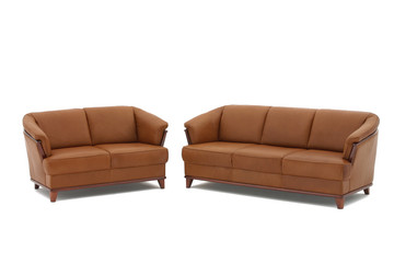 Brown genuine leather sofas.