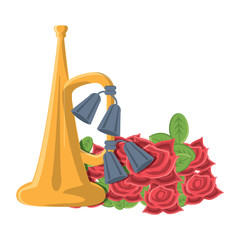 Anzac day design with trumpet and poppy flowers over white background, vector illustration