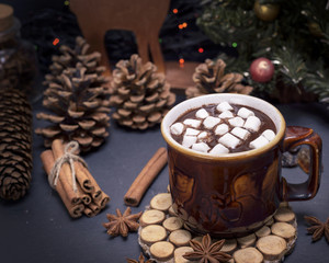 hot chocolate with marshmallow in a brown ceramic mug