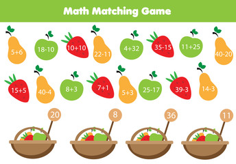 Math educational game for children. Matching mathematics activity. Counting fruits for kids.