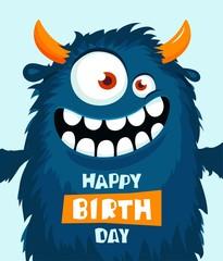 Funny cartoon monster. Happy birthday cute design. Vector illustration