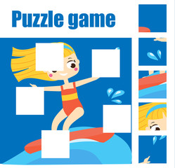Girl on surf board puzzle for toddlers. Match pieces and complete the picture. Educational game for children. Beach sport theme