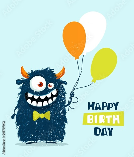 Funny cartoon monster with balloons  Happy birthday cute
